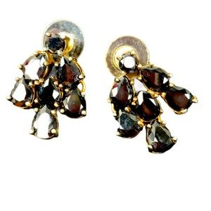 Shiny black teardrop stone dangle pierced earrings